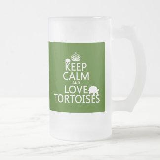 Behalten Sie Ruhe-und Liebe-Schildkröten Mattglas Bierglas