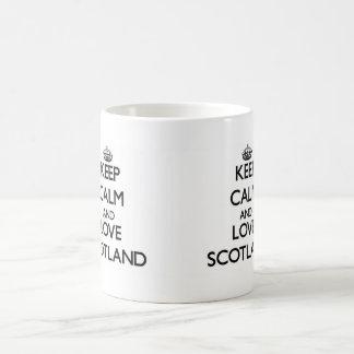 Behalten Sie Ruhe und Liebe Schottland Tasse