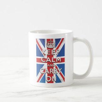 Behalten Sie Ruhe und machen Sie britische Flagge Kaffeetasse
