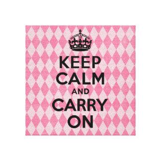 Behalten Sie Ruhe und machen Sie rosa Diamanten we Gespannte Galerie Drucke