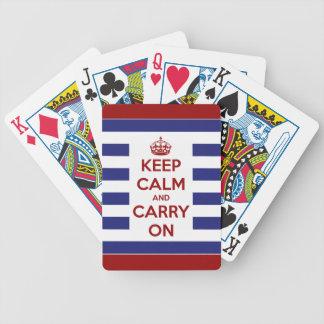 Behalten Sie Ruhe und machen Sie rotes weißes und Bicycle Spielkarten