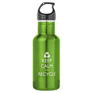 Behalten Sie Ruhe und recyceln Sie Edelstahlflasche