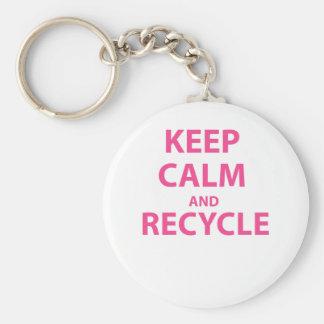Behalten Sie Ruhe und recyceln Sie Schlüsselanhänger