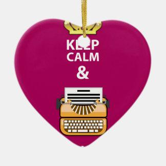Behalten Sie Ruhe und schreiben Sie Ihren Keramik Herz-Ornament