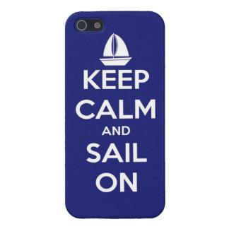 Behalten Sie Ruhe und Segel auf Blau Etui Fürs iPhone 5