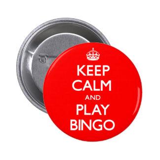 Behalten Sie Ruhe-und Spiel-Bingo (machen Sie) Runder Button 5,1 Cm