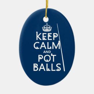 Behalten Sie Ruhe und Topf-Bälle (Snooker/Pool) Keramik Ornament