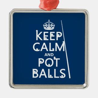 Behalten Sie Ruhe und Topf-Bälle (Snooker/Pool) Silbernes Ornament
