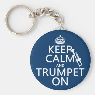 Behalten Sie Ruhe und Trompete auf (irgendeine Schlüsselanhänger