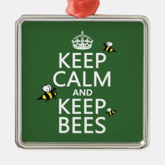 Behalten Sie ruhig und behalten Sie Bienen - alle Silbernes Ornament