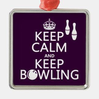 Behalten Sie ruhig und behalten Sie Bowling - alle Silbernes Ornament