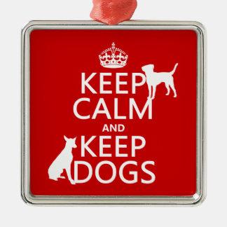 Behalten Sie ruhig und behalten Sie Hunde - alle Silbernes Ornament