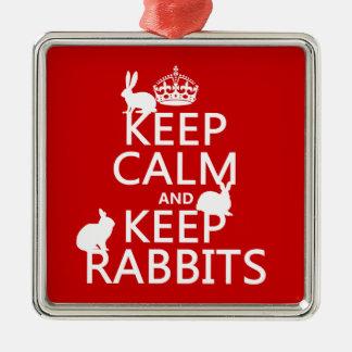 Behalten Sie ruhig und behalten Sie Kaninchen - Silbernes Ornament