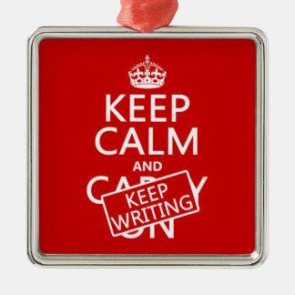 Behalten Sie ruhig und behalten Sie Schreiben Silbernes Ornament