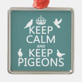 Behalten Sie ruhig und behalten Sie Tauben - alle Silbernes Ornament