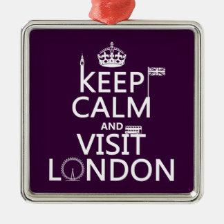 Behalten Sie ruhig und Besuch London Silbernes Ornament