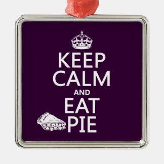 Behalten Sie ruhig und essen Sie Torte Silbernes Ornament