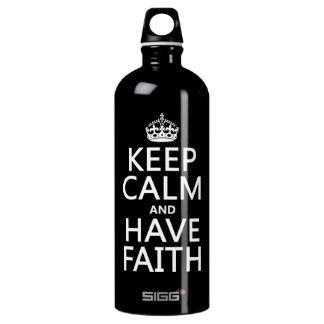 Behalten Sie ruhig und haben Sie Glauben Aluminiumwasserflasche
