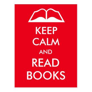 Behalten Sie ruhig und lesen Sie Bücher Postkarte