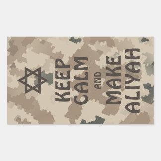 Behalten Sie ruhig und machen Sie Aliyah - Wüste Rechteckiger Aufkleber