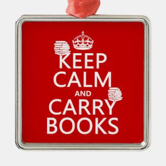 Behalten Sie ruhig und tragen Sie Bücher (in Silbernes Ornament