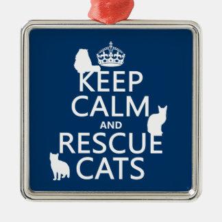Behalten Sie ruhige und Rettungs-Katzen (in Silbernes Ornament