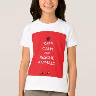 Behalten Sie ruhige und Rettungs-Tier-schwarze T-Shirt