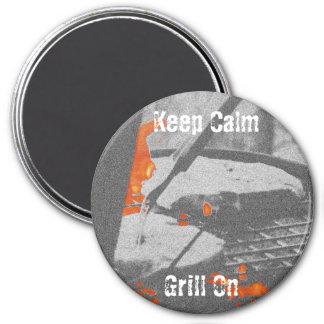 Behalten Sie ruhigen Grill-an - Kreis-Magneten Runder Magnet 7,6 Cm