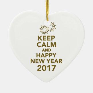 Behalten Sie ruhiges und glückliches neues Jahr Keramik Herz-Ornament