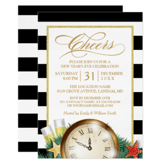 Beifall-Champagne-Uhr Stripes Silvester-Party Karte