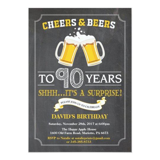 Beifall-und Bier-90. Geburtstags-Einladungs-Karte 12,7 X 17,8 Cm Einladungskarte