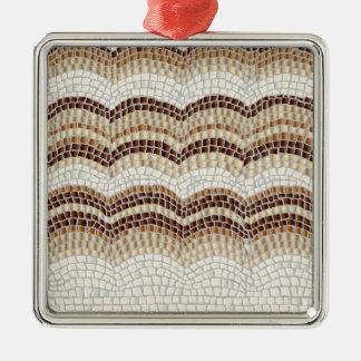 Beige Mosaik-erstklassige quadratische Verzierung Quadratisches Silberfarbenes Ornament