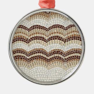 Beige Mosaik-erstklassige runde Verzierung Rundes Silberfarbenes Ornament