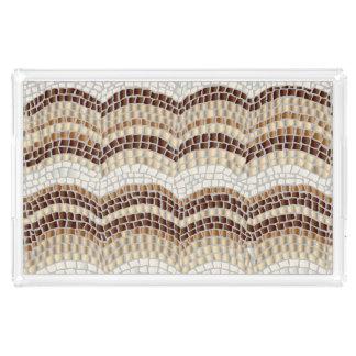 Beige Mosaik-großes Rechteck-Serviertablett Acryl Tablett