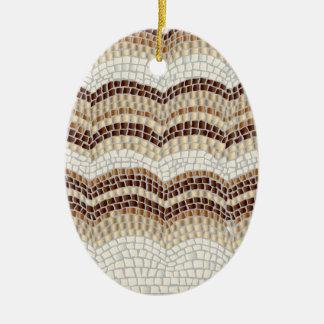 Beige Mosaik-Oval-Verzierung Ovales Keramik Ornament