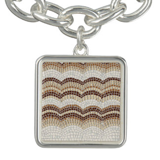 Beige Mosaik-Quadrat-Charme-Armband Charm Armband