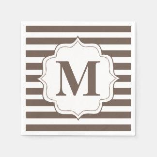 Beige Stripes personalisierte Monogramm-Servietten