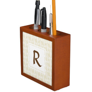 Beige und abstraktes Monogramm Browns Stifthalter