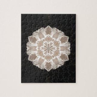beige und Sahneabstrakte mit Blumenkunst Puzzle