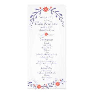 Belaubtes Blumen-Hochzeits-Programm Werbekarte
