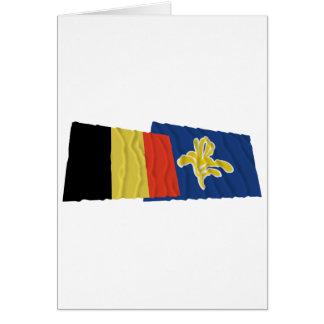 Belgien und Region wellenartig bewegender Flaggen Karte