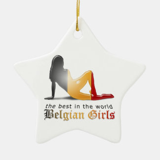 Belgische Mädchen-Silhouette-Flagge Keramik Stern-Ornament
