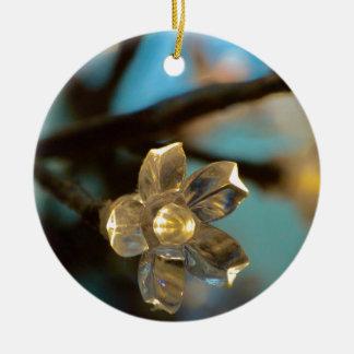 Belichtete Kirschblüte Rundes Keramik Ornament