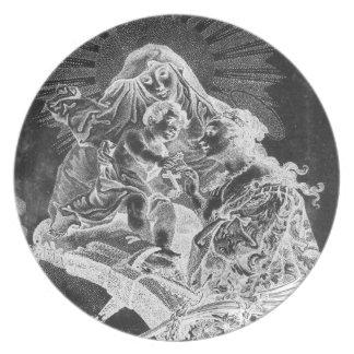 Belichtete Madonna und Kinderplatte Schwarz-weiß Teller