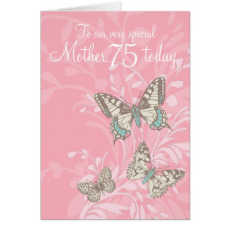 Bemuttern Sie 75. Geburtstagsschmetterlingskarte Karte