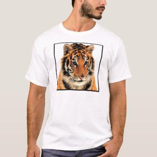 Bengalischer Tiger-Tierdruck-blaues Auge T-Shirt