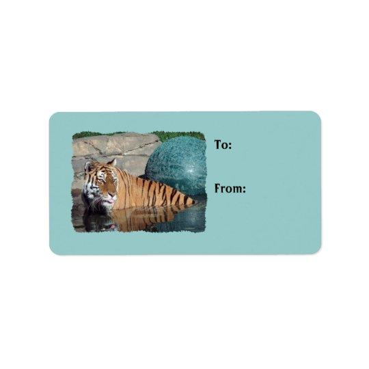 Bengalisches Tiger-Foto-hellblaue Adressaufkleber