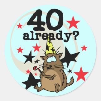 Bereits Geburtstag 40 Runder Aufkleber
