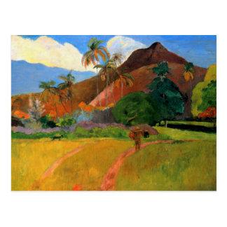 Berge in Tahiti Gauguin, das warmes buntes malt Postkarten