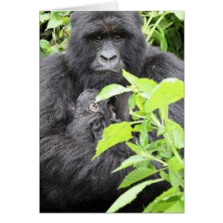 Berggorilla-Mutter und Baby Karte